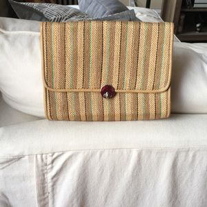 Straw/ Woven Striped Clutch